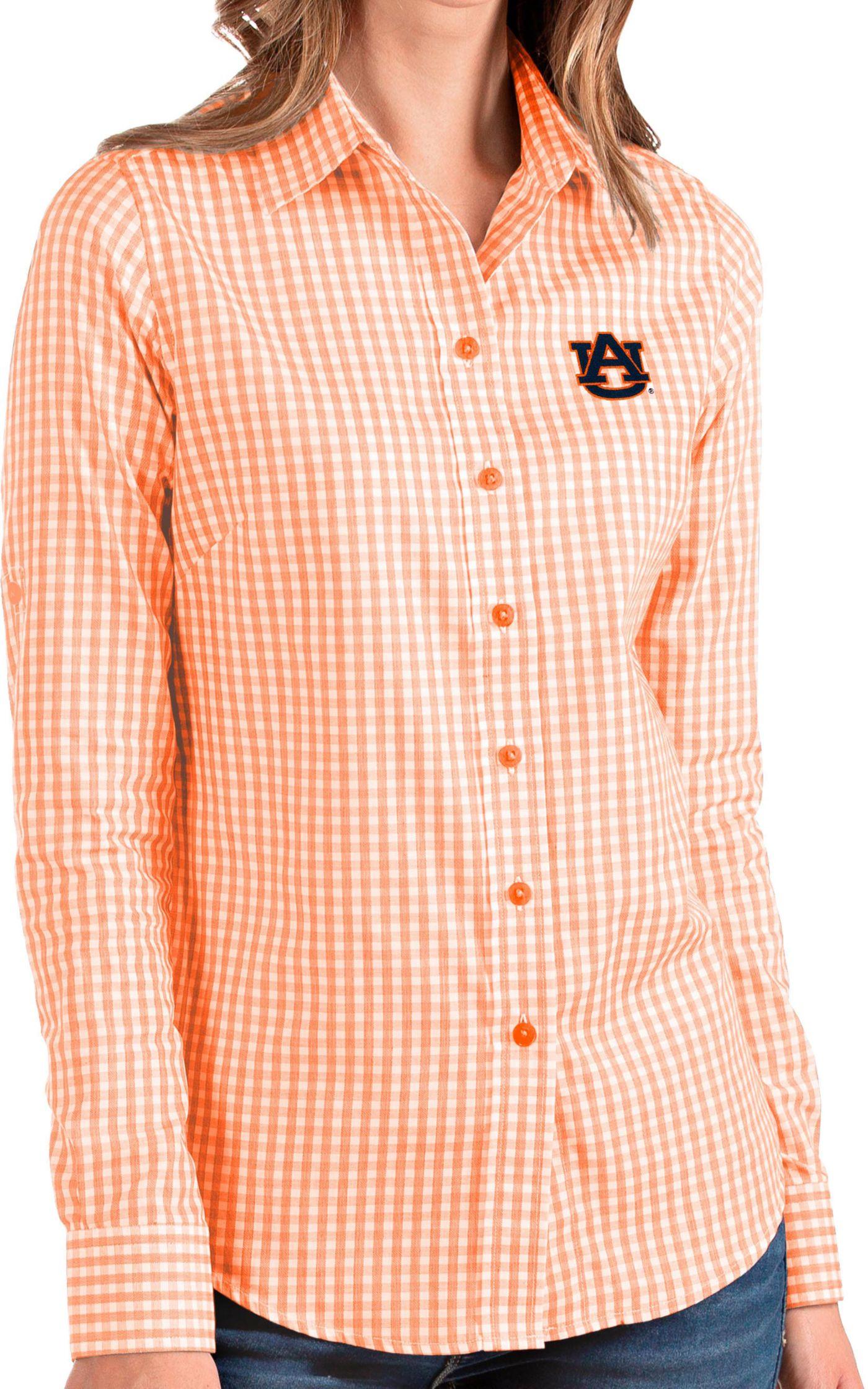 Antigua Women's Auburn Tigers Orange Structure Button Down Long Sleeve Shirt
