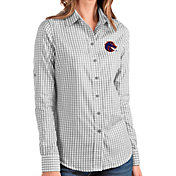 Antigua Women's Boise State Broncos Grey Structure Button Down Long Sleeve Shirt