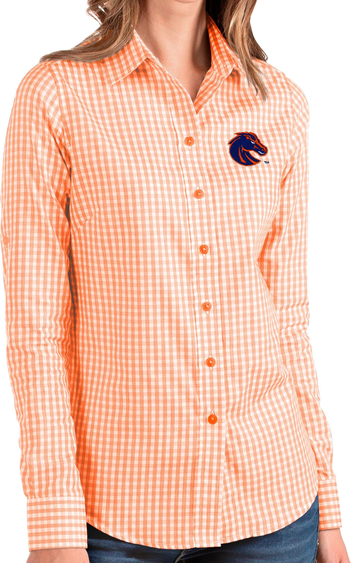 Antigua Women's Boise State Broncos Orange Structure Button Down Long Sleeve Shirt