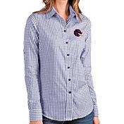 Antigua Women's Boise State Broncos Blue Structure Button Down Long Sleeve Shirt