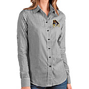 Antigua Women's East Carolina Pirates Structure Button Down Long Sleeve Black Shirt
