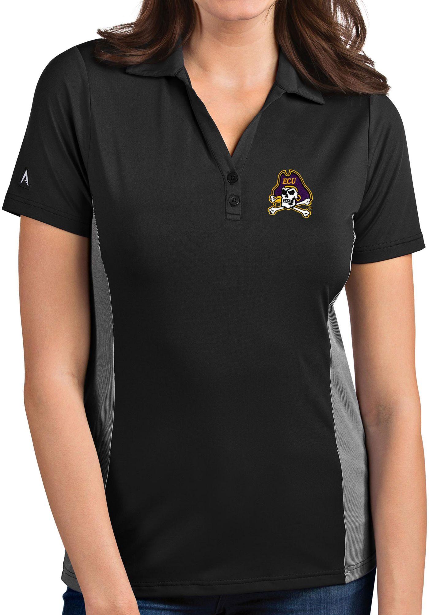 Antigua Women's East Carolina Pirates Grey Venture Polo