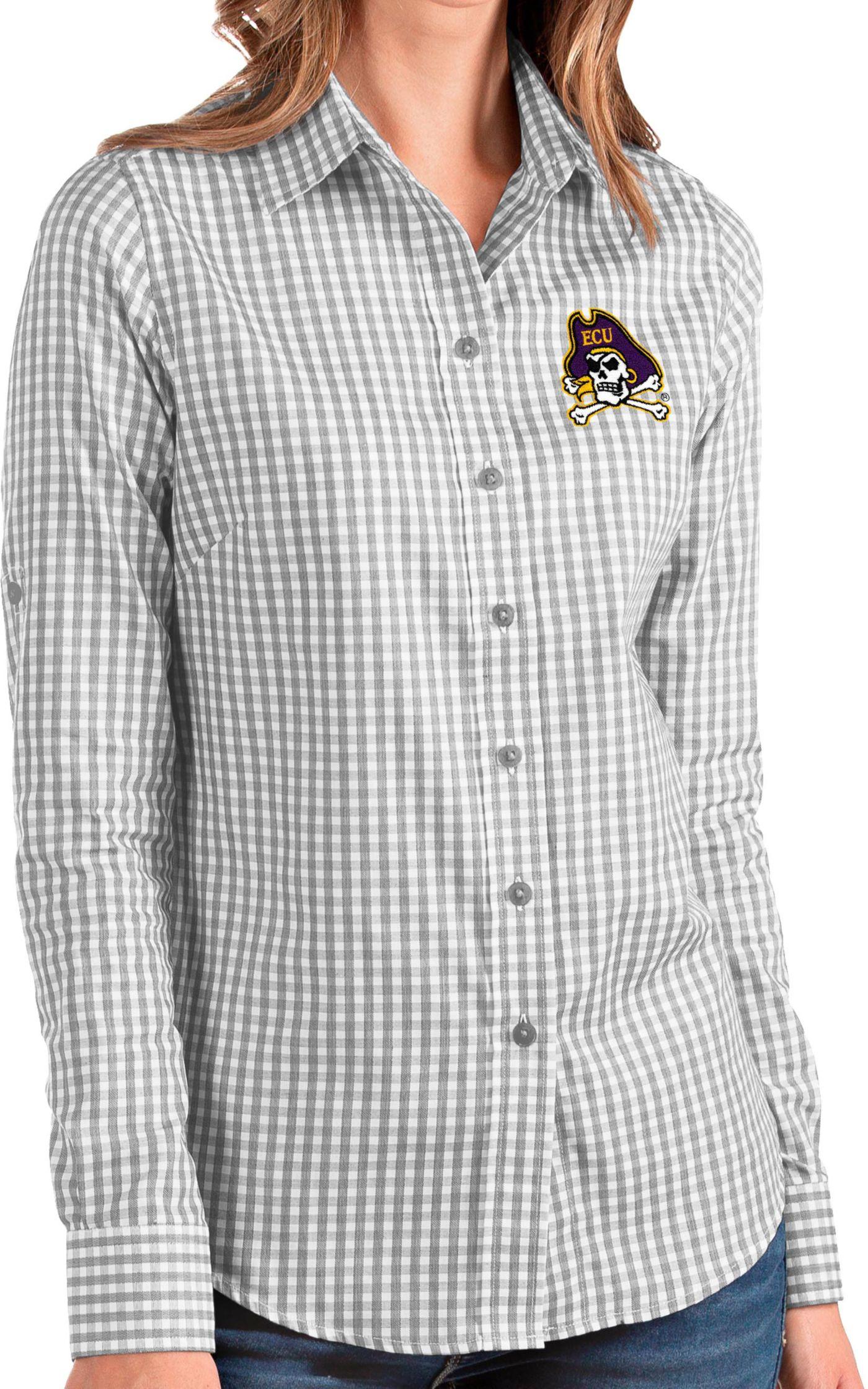 Antigua Women's East Carolina Pirates Grey Structure Button Down Long Sleeve Shirt