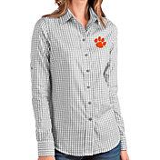 Antigua Women's Clemson Tigers Grey Structure Button Down Long Sleeve Shirt