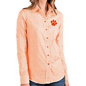 Antigua Women's Clemson Tigers Orange Structure Button Down Long Sleeve Shirt