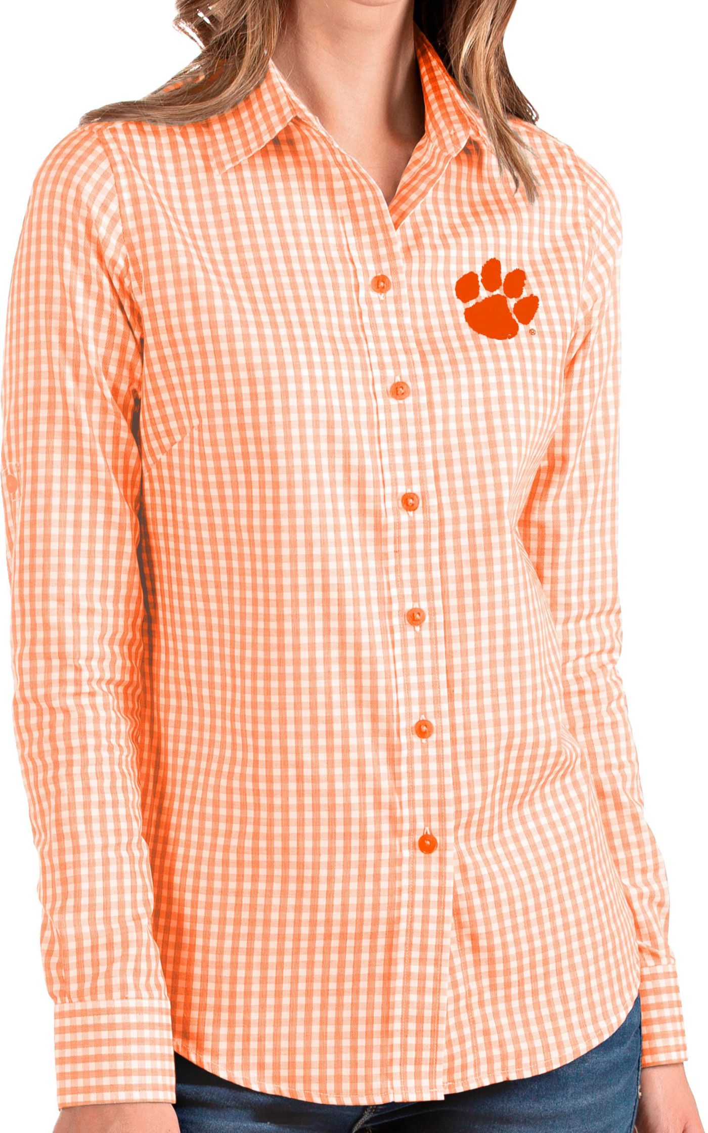 Antigua Women's Clemson Tigers Orange Structure Button Down Long Sleeve Shirt
