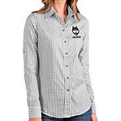 Antigua Women's UConn Huskies Grey Structure Button Down Long Sleeve Shirt
