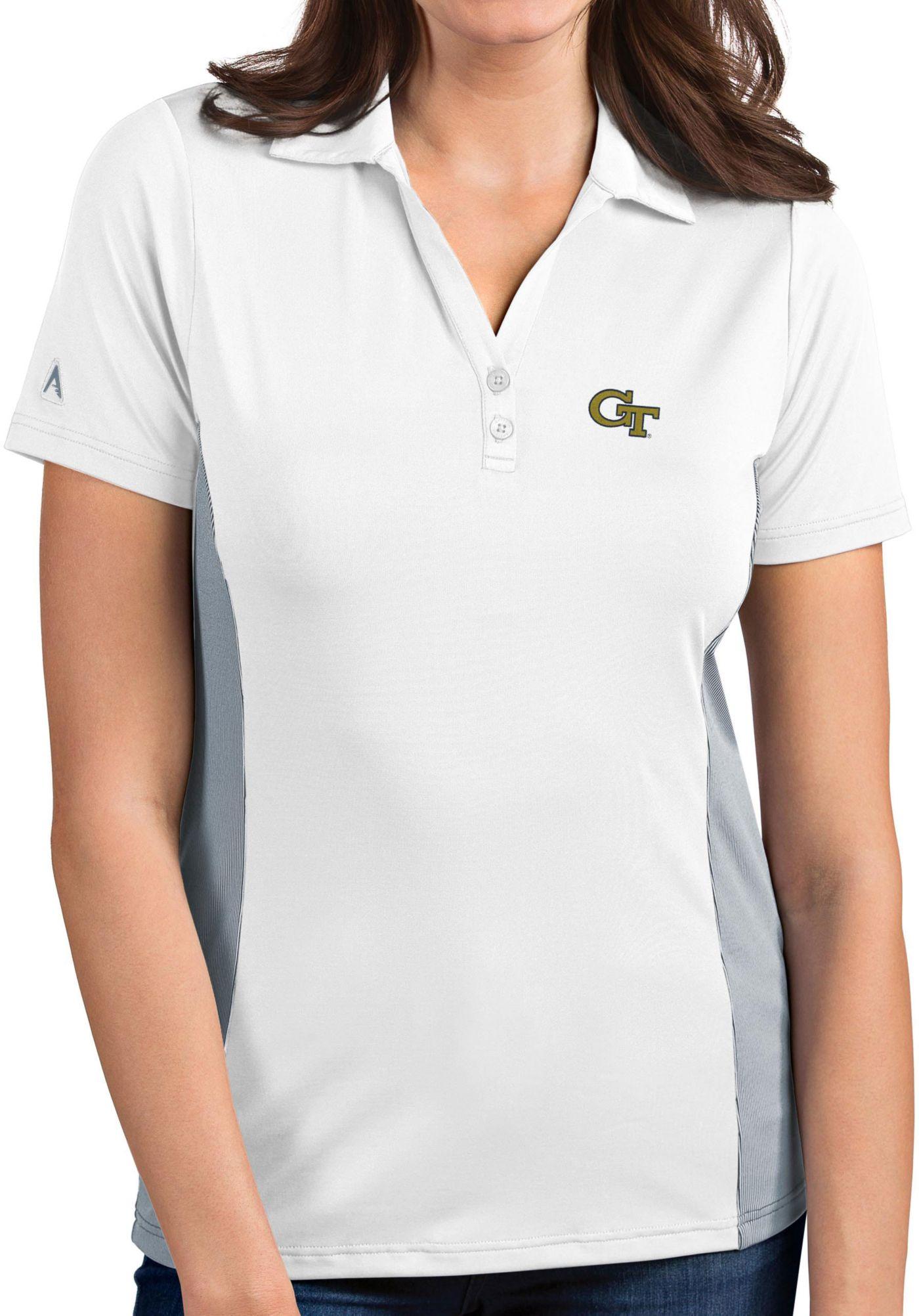 Antigua Women's Georgia Tech Yellow Jackets Venture White Polo