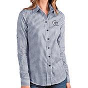 Antigua Women's Georgetown Hoyas Blue Structure Button Down Long Sleeve Shirt
