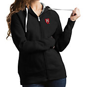 Antigua Women's Harvard Crimson Victory Pullover Black Hoodie