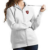 Antigua Women's Harvard Crimson Victory Pullover White Hoodie