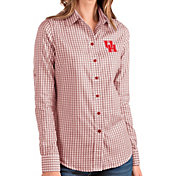 Antigua Women's Houston Cougars Red Structure Button Down Long Sleeve Shirt