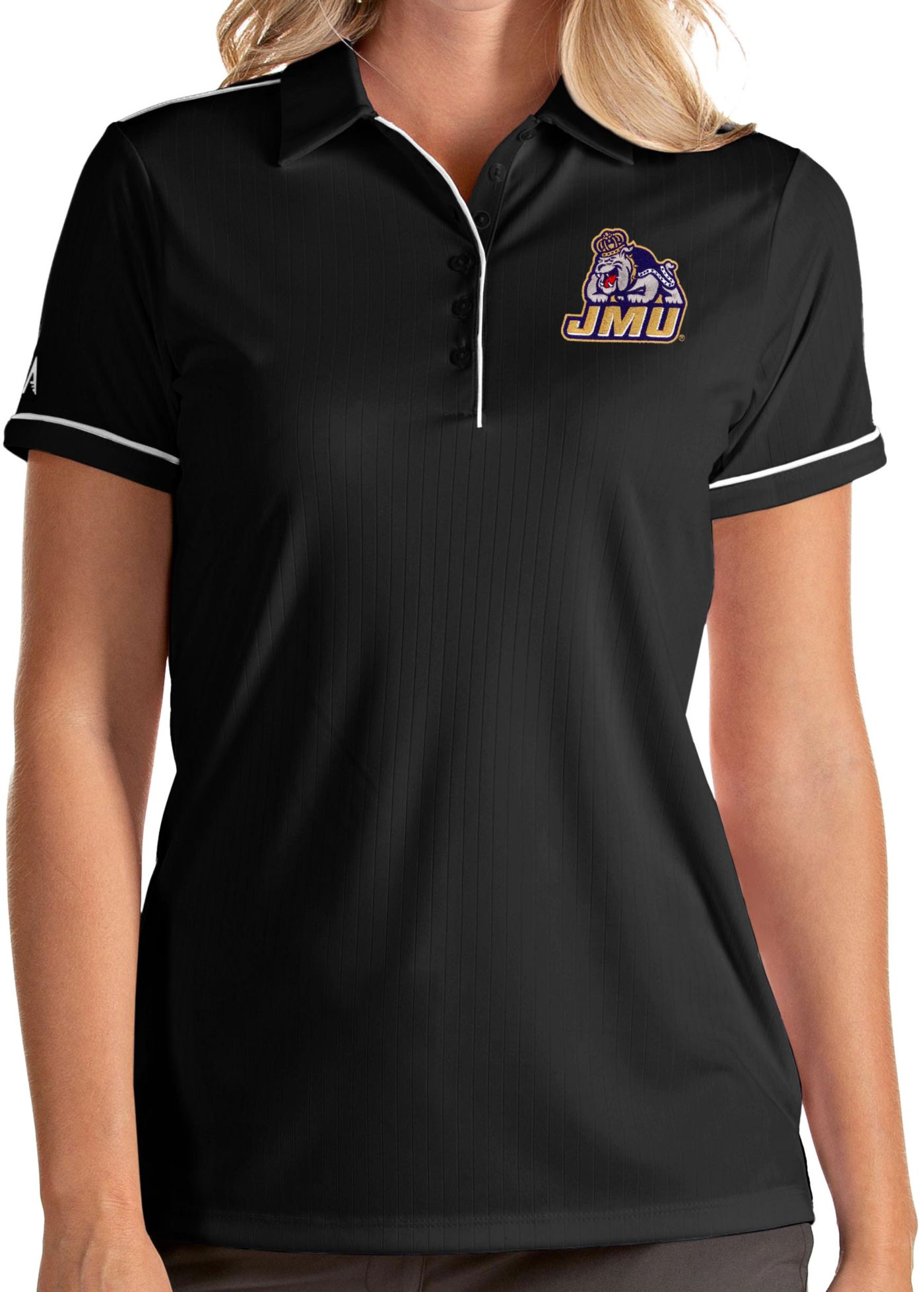 Antigua Women's James Madison Dukes Salute Performance Black Polo