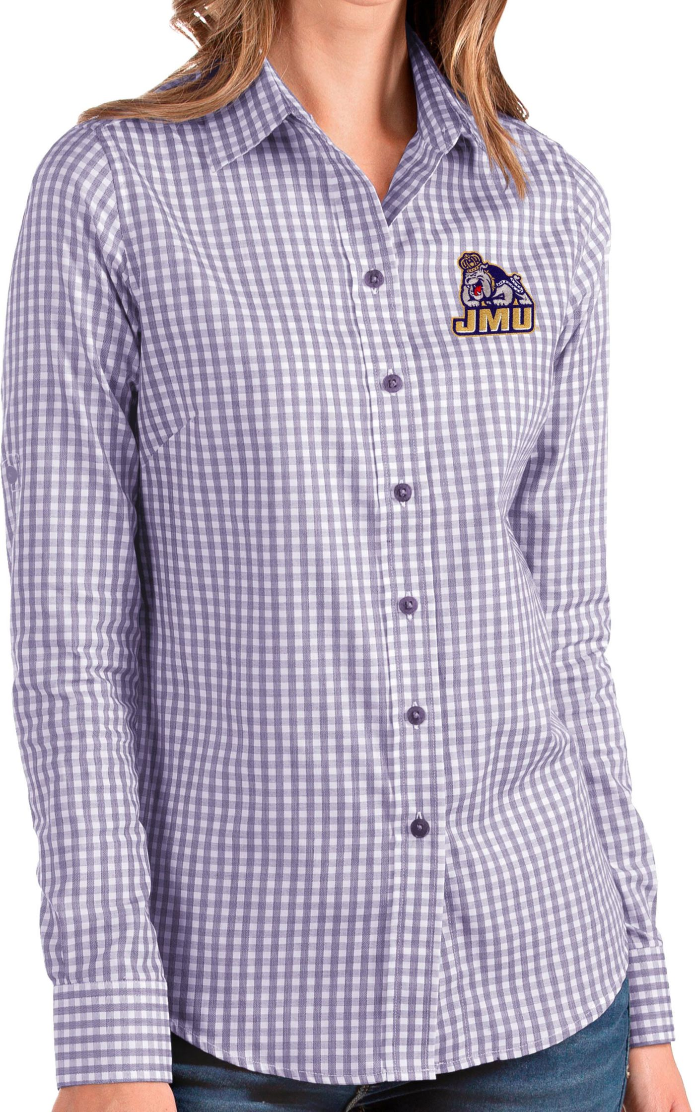 Antigua Women's James Madison Dukes Purple Structure Button Down Long Sleeve Shirt