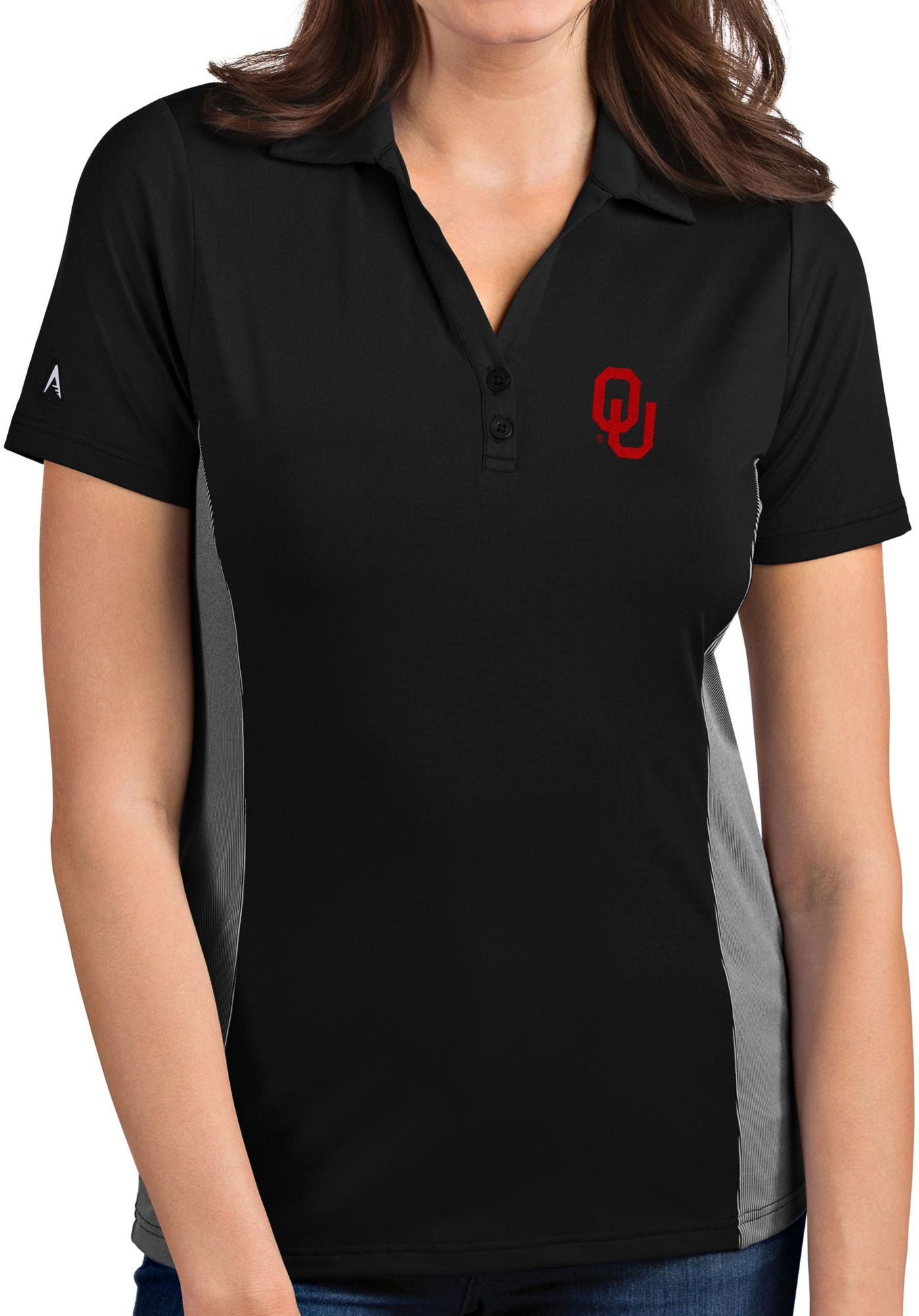 Antigua Women's Oklahoma Sooners Venture Black Polo