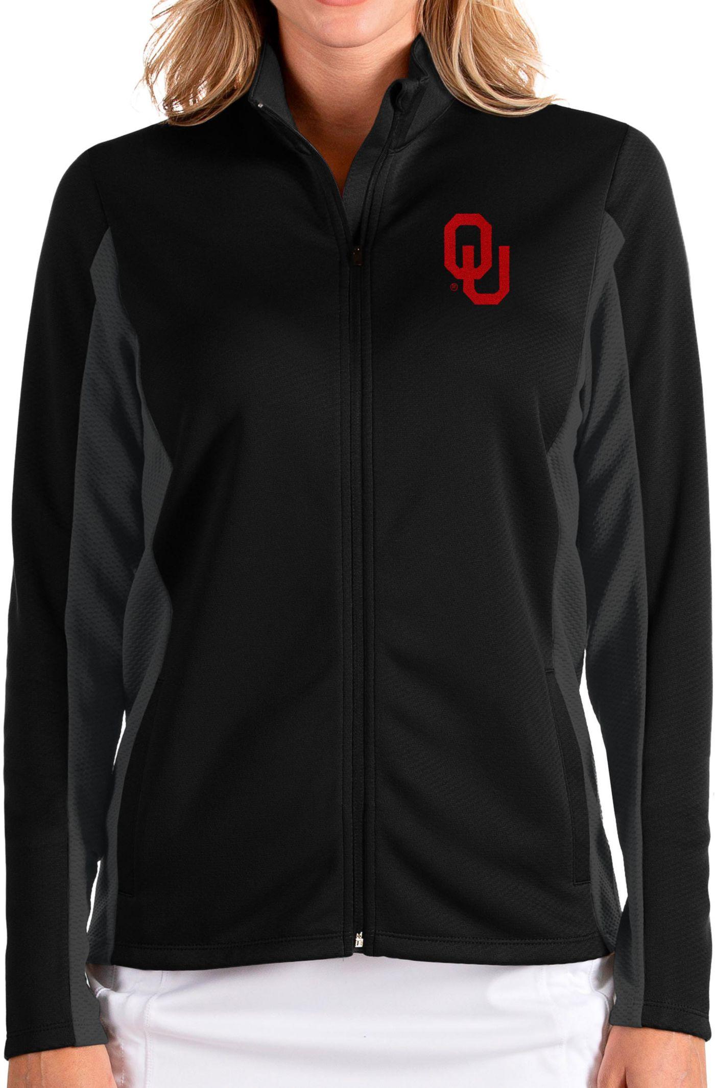Antigua Women's Oklahoma Sooners Passage Full-Zip Black Jacket