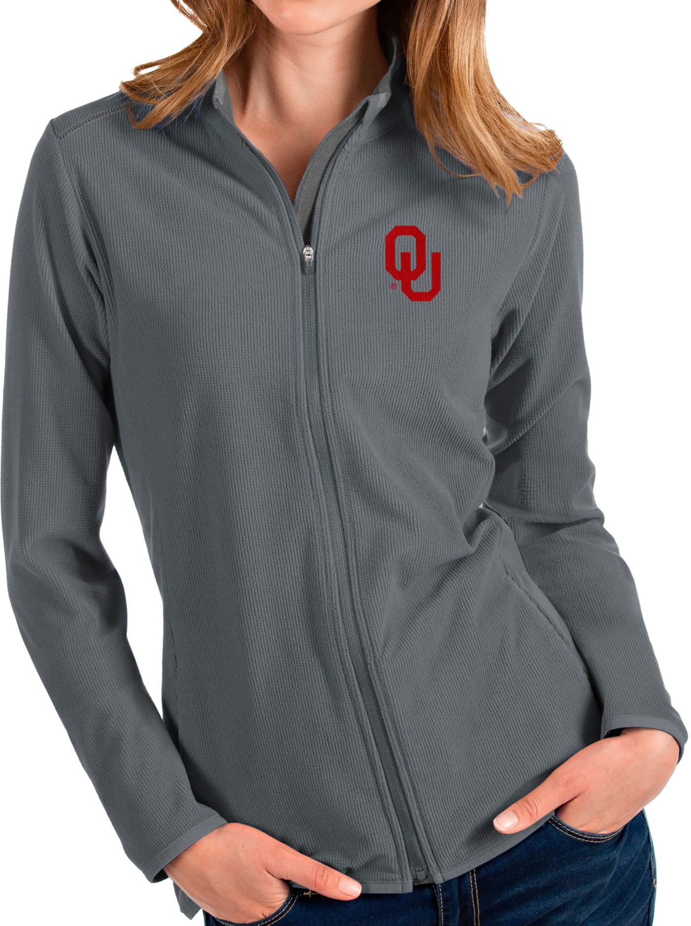 Antigua Women's Oklahoma Sooners Grey Glacier Full-Zip Jacket
