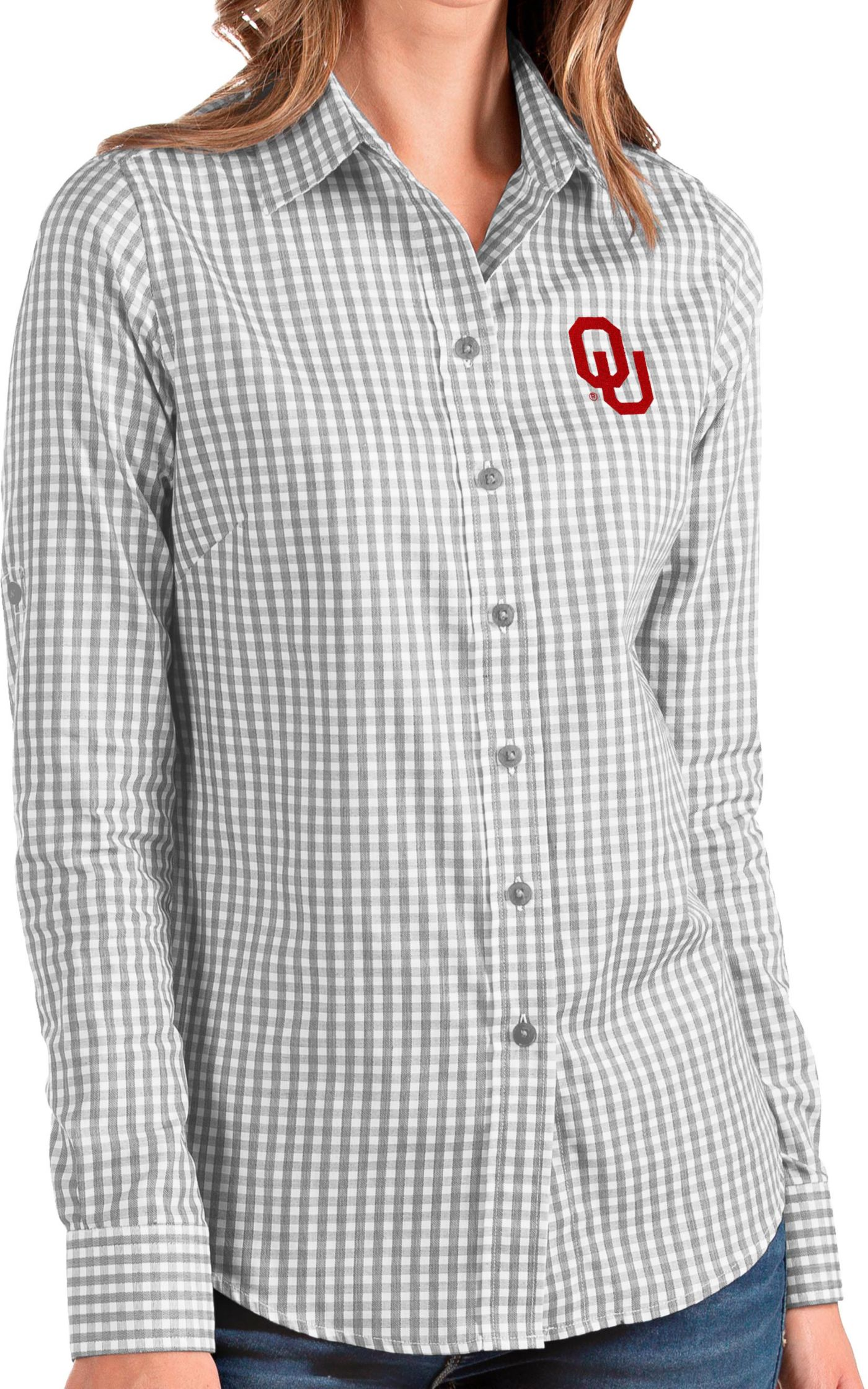 Antigua Women's Oklahoma Sooners Grey Structure Button Down Long Sleeve Shirt