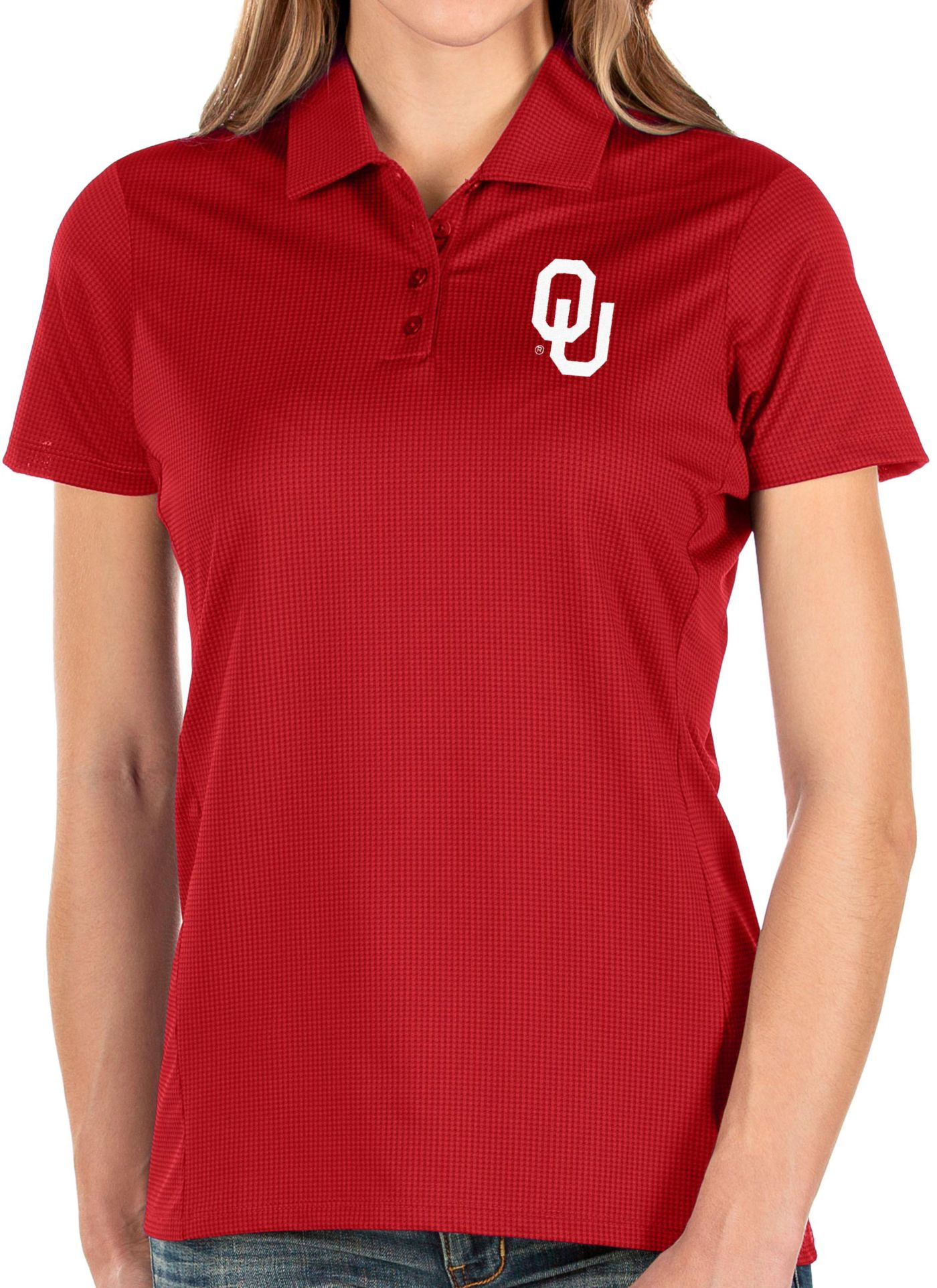 Antigua Women's Oklahoma Sooners Crimson Balance Polo