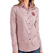 Antigua Women's Oklahoma Sooners Crimson Structure Button Down Long Sleeve Shirt