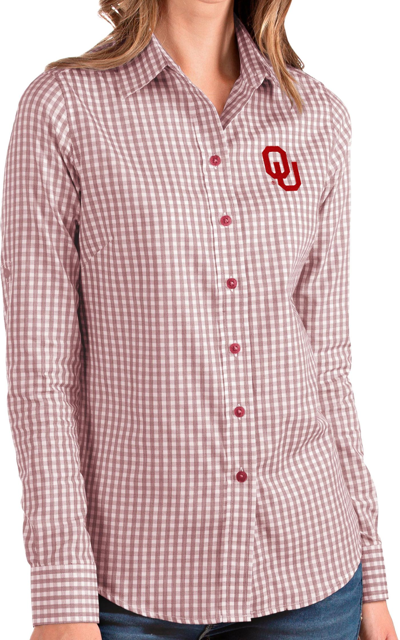 Antigua Women's Oklahoma Sooners Crimson Structure Button Down Long Sleeve Shirt
