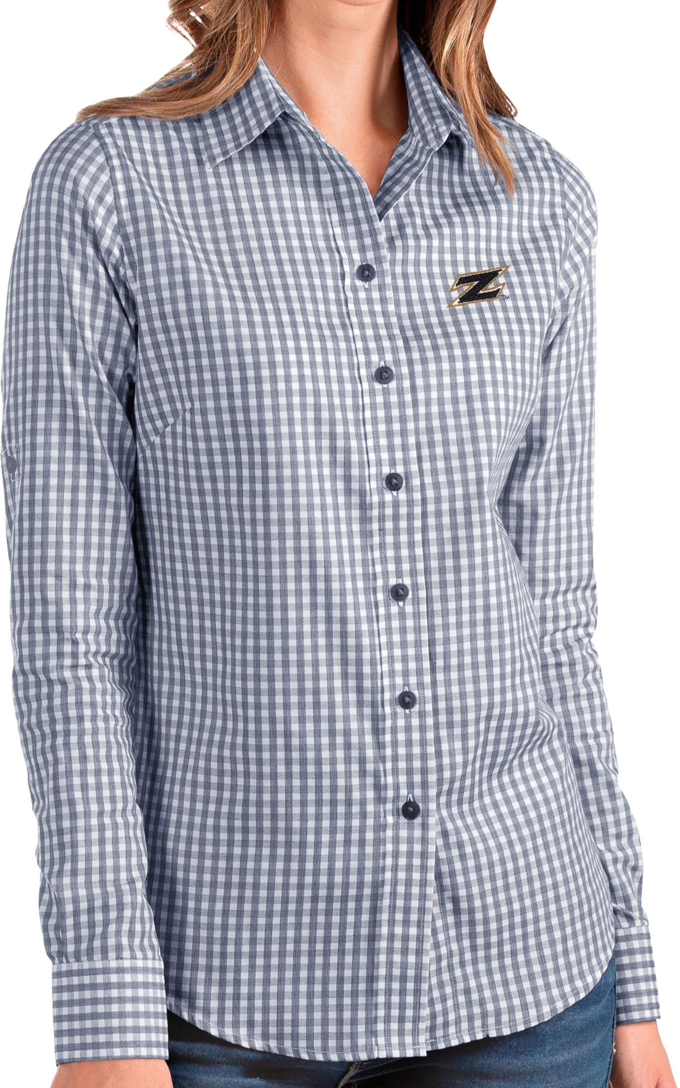 Antigua Women's Akron Zips Navy Structure Button Down Long Sleeve Shirt