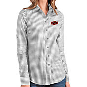 Antigua Women's Oklahoma State Cowboys Grey Structure Button Down Long Sleeve Shirt
