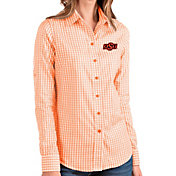 Antigua Women's Oklahoma State Cowboys Orange Structure Button Down Long Sleeve Shirt