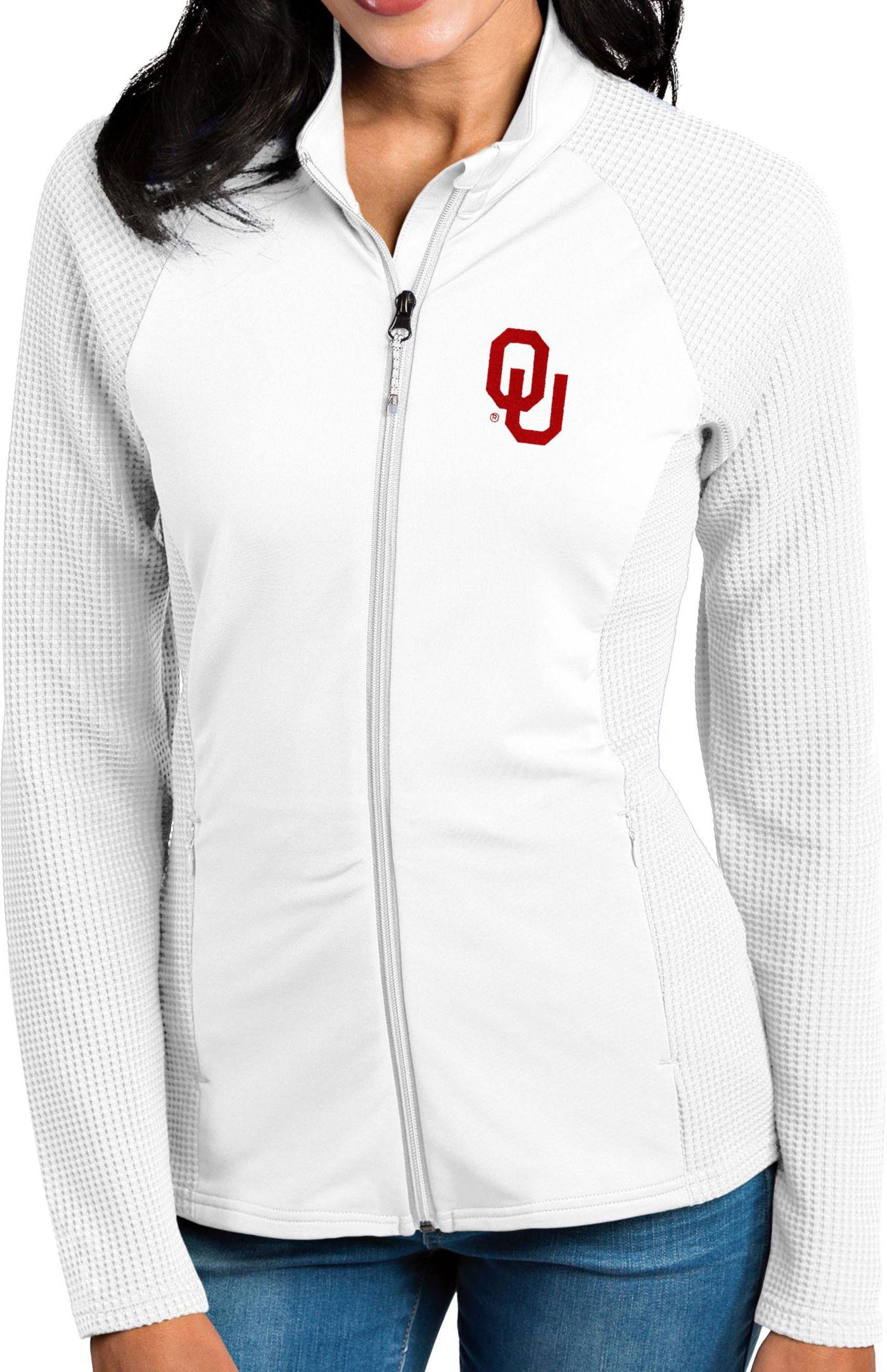 Antigua Women's Oklahoma Sooners White Sonar Full-Zip Performance Jacket