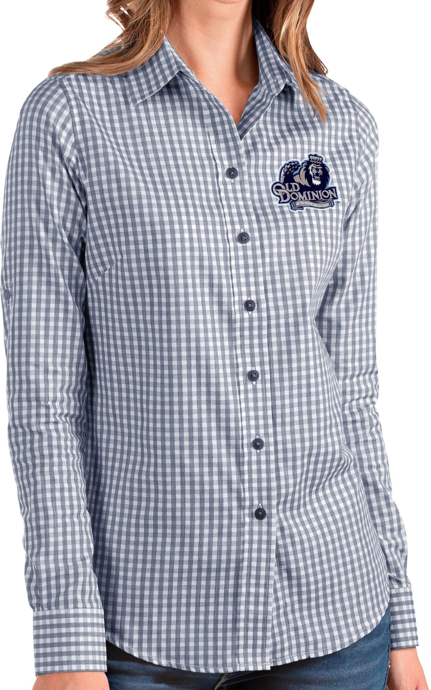 Antigua Women's Old Dominion Monarchs Blue Structure Button Down Long Sleeve Shirt