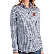 Antigua Women's Illinois Fighting Illini Blue Structure Button Down Long Sleeve Shirt