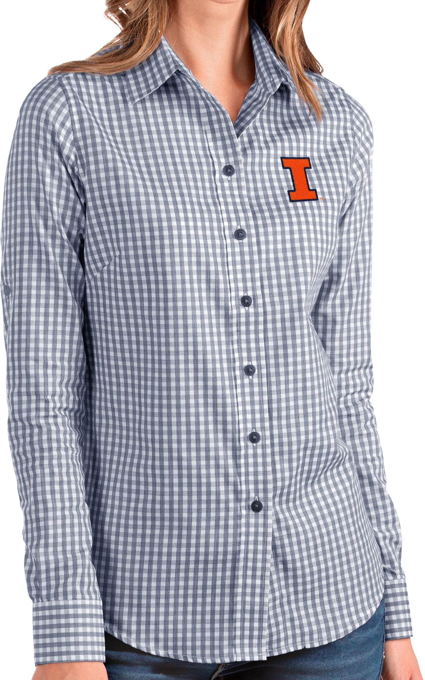 Antigua Women's Illinois Fighting Illini Blue Structure Button Down Long Sleeve Shirt