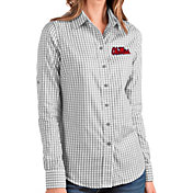 Antigua Women's Ole Miss Rebels Grey Structure Button Down Long Sleeve Shirt