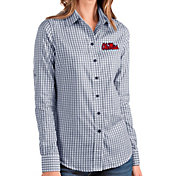 Antigua Women's Ole Miss Rebels Blue Structure Button Down Long Sleeve Shirt
