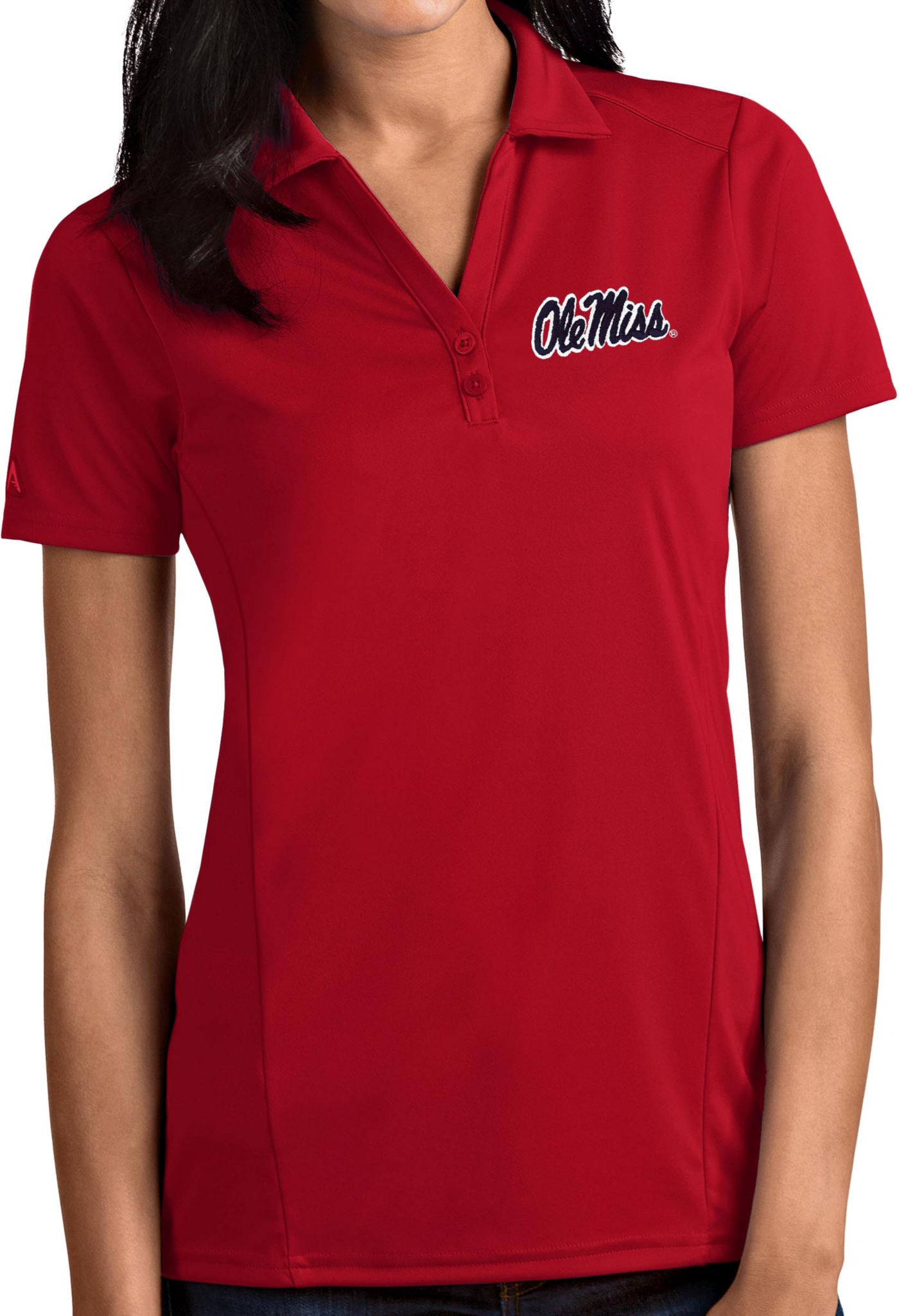 Antigua Women's Ole Miss Rebels Red Tribute Performance Polo