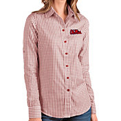 Antigua Women's Ole Miss Rebels Red Structure Button Down Long Sleeve Shirt