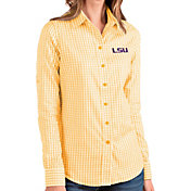 Antigua Women's LSU Tigers Gold Structure Button Down Long Sleeve Shirt
