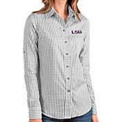 Antigua Women's LSU Tigers Grey Structure Button Down Long Sleeve Shirt