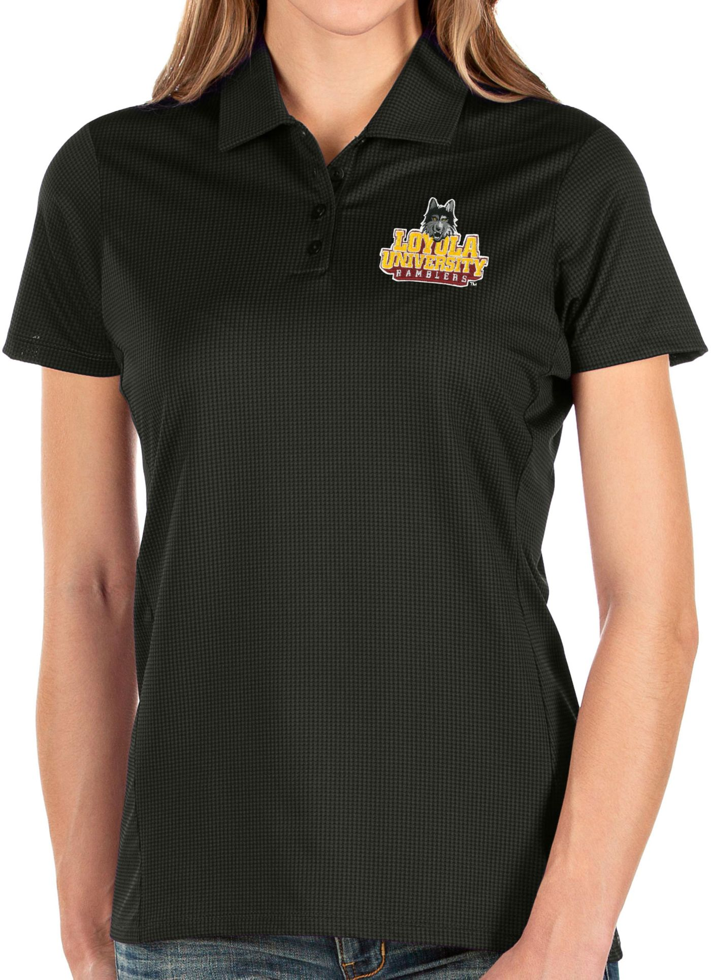 Antigua Women's Loyola-Chicago Ramblers Balance Black Polo