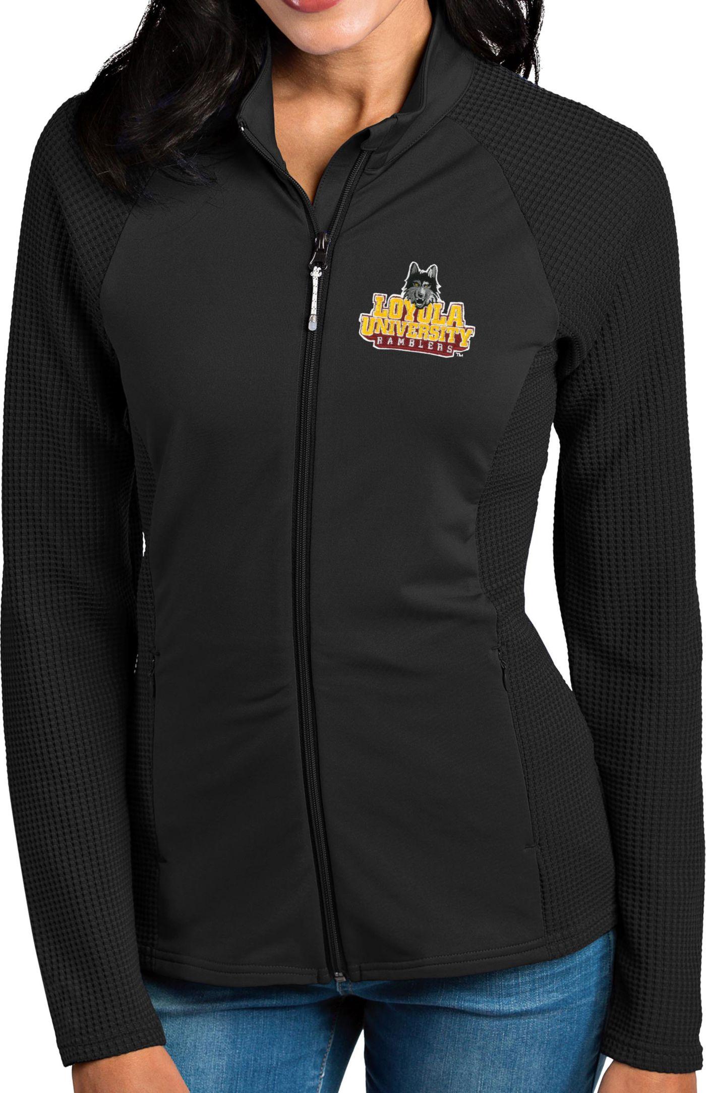 Antigua Women's Loyola-Chicago Ramblers Black Sonar Full-Zip Performance Jacket