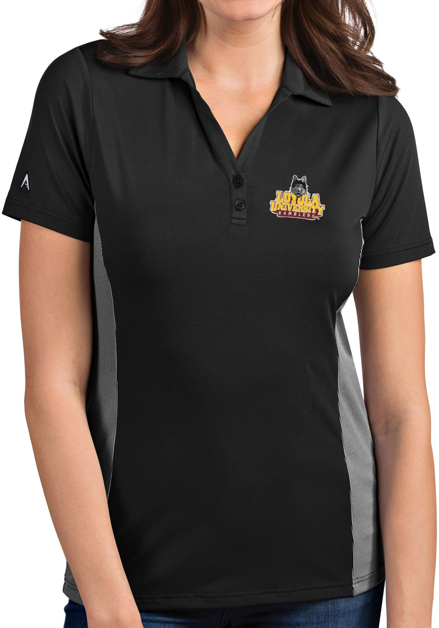 Antigua Women's Loyola - Chicago Ramblers Grey Venture Polo