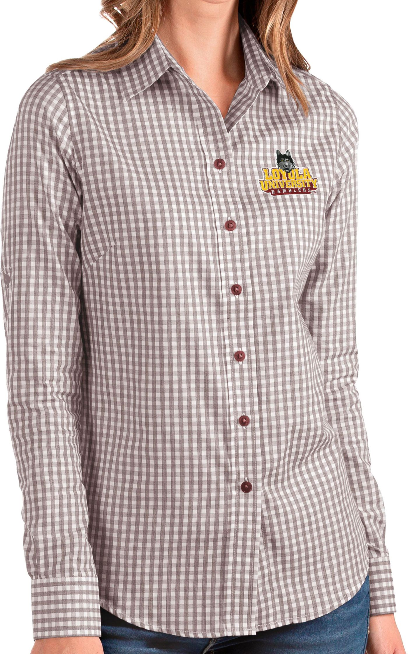 Antigua Women's Loyola-Chicago Ramblers Maroon Structure Button Down Long Sleeve Shirt