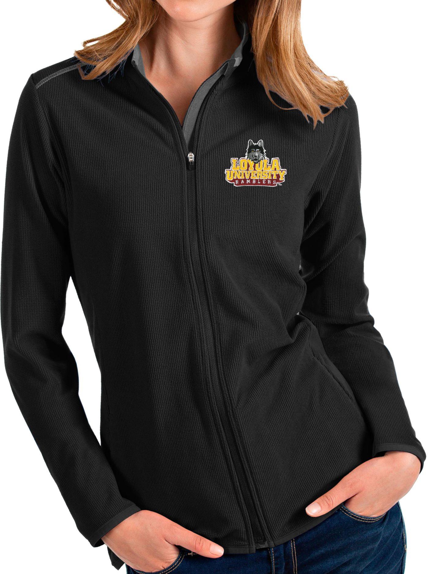 Antigua Women's Loyola-Chicago Ramblers Glacier Full-Zip Black Jacket