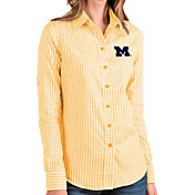 Antigua Women's Michigan Wolverines Gold Structure Button Down Long Sleeve Shirt