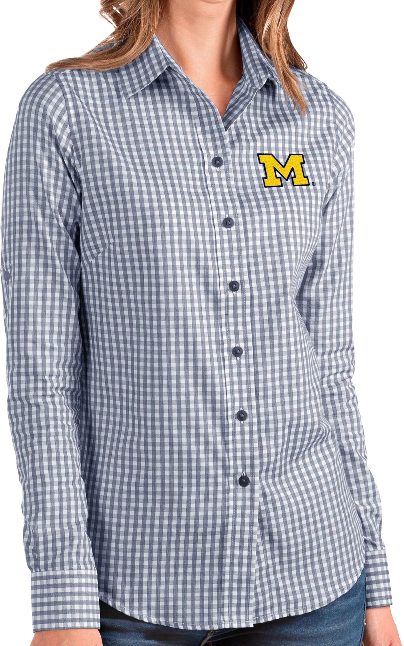Antigua Women's Michigan Wolverines Blue Structure Button Down Long Sleeve Shirt