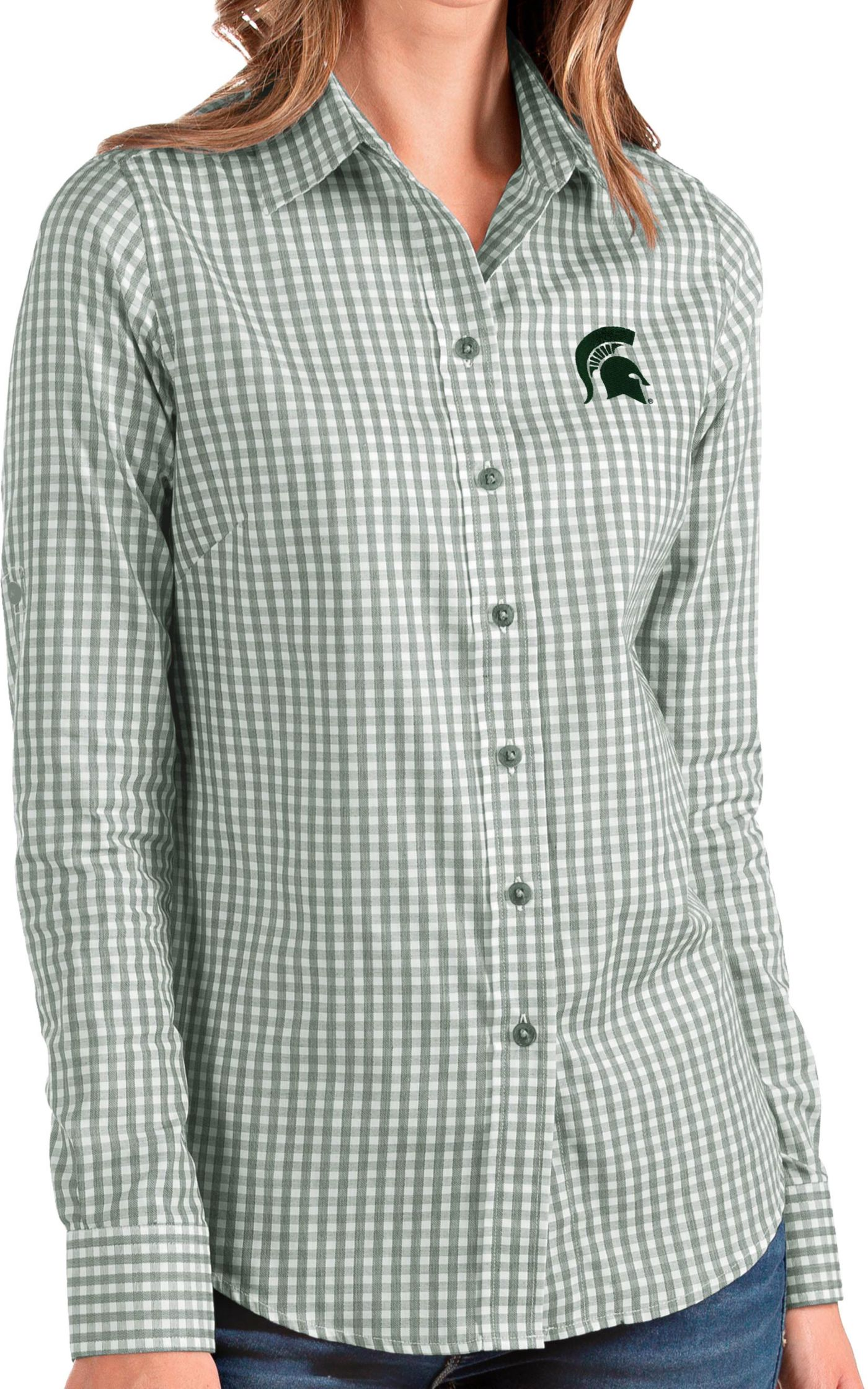Antigua Women's Michigan State Spartans Green Structure Button Down Long Sleeve Shirt