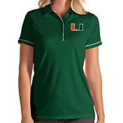 Antigua Women's Miami Hurricanes Green Salute Performance Polo