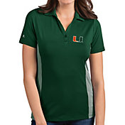 Antigua Women's Miami Hurricanes Green Venture Polo