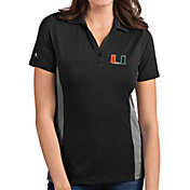 Antigua Women's Miami Hurricanes Grey Venture Polo