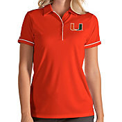 Antigua Women's Miami Hurricanes Orange Salute Performance Polo